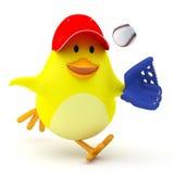 Baseball player. Little baseball player chick on white - 3D render Royalty Free Stock Images