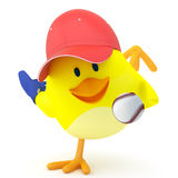 Baseball player. Little baseball player chick on white - 3D render Stock Photo
