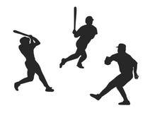 Baseball player. Three men silhouettes playing baseball Royalty Free Stock Photos