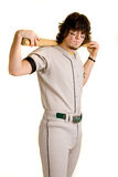 Baseball Player. A young male baseball player stretching stock photos