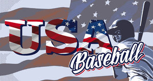 Baseball player and American flag. Baseball player hitting and American flag Royalty Free Stock Photo
