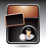 Baseball player and ball on bronze template Stock Photography