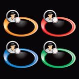 Baseball player and ball on multicolored rings Royalty Free Stock Photos