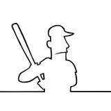 Baseball player with bat. Black line art illustration of a baseball player with bat Royalty Free Stock Photo