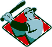 Baseball Player with Bat Batting Retro Style Royalty Free Stock Photos