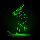 Baseball player with a bat. neon style Stock Photos