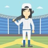Baseball player with bat vector illustration. Stock Image