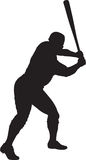 Baseball Player, Batter 01. A silhouette of a baseball player batting Stock Photo