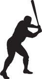 Baseball Player, Batter 01. A silhouette of a baseball player batting stock photo