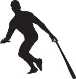 Baseball Player, Batter 02. A silhouette of a baseball player batting Stock Image