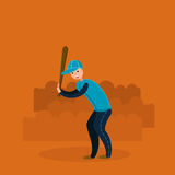 Baseball player - batter. Flat vector illustration. In cartoon style Stock Photos