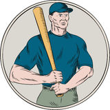 Baseball Player Batter Holding Bat Etching Royalty Free Stock Image