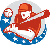 Baseball Player Batter Stars Circle Retro Royalty Free Stock Images