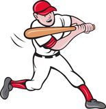 Baseball player batting cartoon Royalty Free Stock Images