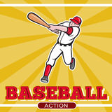 Baseball player batting cartoon. Illustration of a baseball player batting cartoon style set inside square and ball in background with words Baseball Action Royalty Free Stock Image