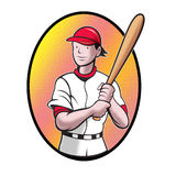 Baseball player batting cartoon. Illustration of a baseball player batting cartoon style set inside oval in isolated background Royalty Free Stock Photography