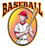 Baseball player batting cartoon. Illustration of a baseball player batting cartoon style set inside oval in isolated background with words Baseball Royalty Free Stock Photography