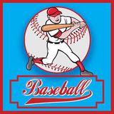 Baseball player batting cartoon. Illustration of a baseball player batting cartoon style set inside square and ball in background with words Baseball Royalty Free Stock Images