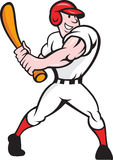 Baseball Player Batting Cartoon. Cartoon illustration of a baseball player with bat batting facing front on isolated white background Stock Photos