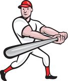 Baseball Player Batting Cartoon. Cartoon illustration of a baseball player with bat batting facing front on isolated white background Royalty Free Stock Image