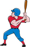 Baseball Player Batting  Cartoon. Illustration of an american baseball player batter hitter holding bat batting viewed from the side set on  white background Stock Photo