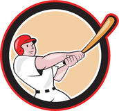 Baseball Player Batting Circle Cartoon. Illustration of an american baseball player batter hitter batting with bat set inside circle shape done in cartoon style Stock Photography