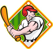 Baseball Player Batting Diamond Cartoon. Cartoon illustration of a baseball player with bat batting facing front on isolated white background with diamond Royalty Free Stock Photos