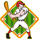 Baseball Player Batting Diamond Cartoon. Cartoon illustration of a baseball player with bat batting facing front on isolated white background with diamond Stock Photo