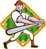 Baseball Player Batting Diamond Cartoon. Cartoon illustration of a baseball player with bat batting facing front with diamond in background Stock Photography
