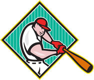 Baseball Player Batting Diamond Cartoon. Illustration of a american baseball player batter hitter batting with bat inside diamond shape done in cartoon style Stock Photography