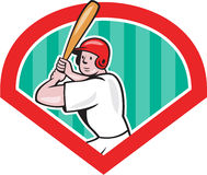 Baseball Player Batting Diamond Cartoon. Illustration of an american baseball player batter hitter batting with bat set inside diamond done in cartoon style Stock Images
