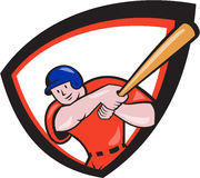 Baseball Player Batting Front Shield Cartoon. Illustration of an american baseball player batter hitter batting with bat set inside shield crest done in cartoon Royalty Free Stock Photos