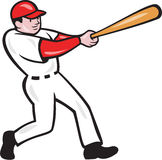 Baseball Player Batting Isolated Cartoon. Illustration of an american baseball player batter hitter batting with bat done in cartoon style isolated on white Royalty Free Stock Photo