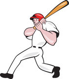 Baseball Player Batting Look Side Isolated Cartoon. Illustration of an american baseball player batter hitter batting with bat done in cartoon style isolated on Royalty Free Stock Photo