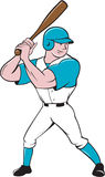 Baseball Player Batting Stance  Cartoon. Illustration of an american baseball player batter hitter with bat batting stance viewed from side set on  white Stock Images