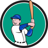 Baseball Player Batting Stance Circle Cartoon. Illustration of an american baseball player batter hitter with bat batting stance viewed from side set inside Stock Photo