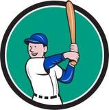 Baseball Player Batting Stance Circle Cartoon Stock Photo