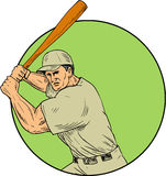 Baseball Player Batting Stance Circle Drawing. Drawing sketch style illustration of an american baseball player batter hitter holding bat in batting stance Royalty Free Stock Image