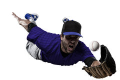 Baseball Player. With a blue uniform on a white background Stock Images