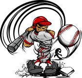 Baseball Player Cartoon Swinging Bat stock illustration