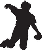 Baseball Player, Catcher 01. A silhouette of a baseball catcher Stock Image
