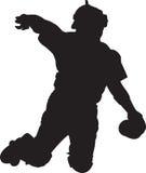 Baseball Player, Catcher 01. A silhouette of a baseball catcher stock image