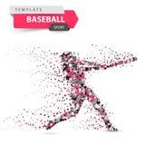 Baseball player - color dot illustration on the white background.