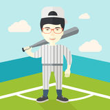 Baseball player on field. An asian baseball player standing with a bat in a field vector flat design illustration. Square layout Royalty Free Stock Photos