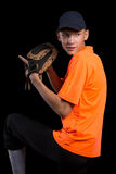 Baseball player getting ready to throw the ball Stock Images