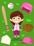 Baseball Player Girl Elements royalty free illustration