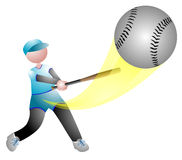 Baseball player hits the ball Stock Image