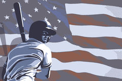 Baseball player hitting and American flag. Sports background image with baseball player hitting and American flag Royalty Free Stock Photo