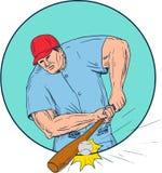 Baseball Player Hitting A Homerun Drawing Royalty Free Stock Photos