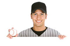 Baseball: Player Holding Ball Behind White Card royalty free stock photo